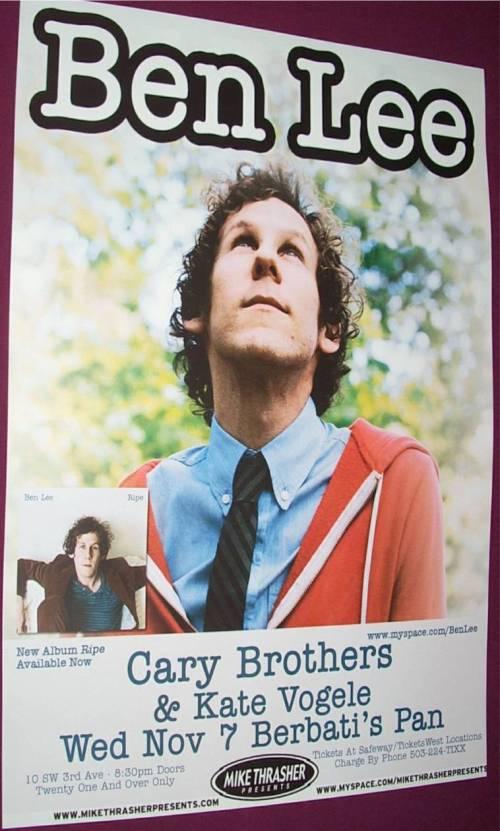 Ben Lee Concert Poster
